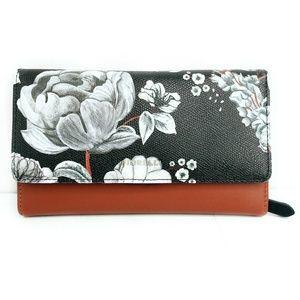 Fiorelli Floral Black White Print Tri Fold Wallet